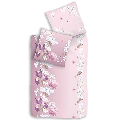 Blumen Bettwäsche 135x200 2 teilig · Bettwäsche rosa lila 100 % Baumwolle · BLUMENGARTEN - Kissenbezug 80x80 + Bettbezug 135x200 cm