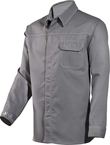 HB Schutzkleidung Schweißerhemd Schweisserhemd Flammenhemd Arbeitshemd blau oder grau (43/44, Grau)
