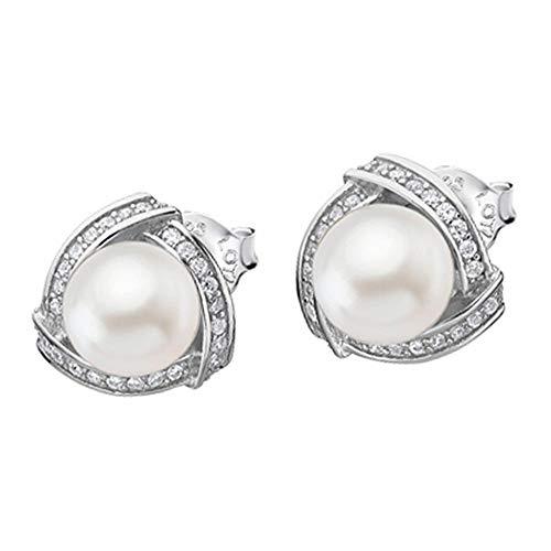 Lotus Pendientes plateados LP1928-4/1 de plata con circonitas y perlas JLP1928-4-1