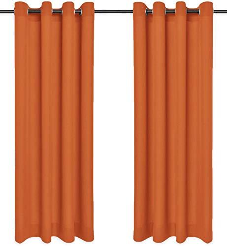 Rollmayer Vorhänge Schal mit Ösen Kollektion Vivid (Orange 6, 135x150 cm - BxH) Blickdicht Uni einfarbig Gardinen Schal für Schlafzimmer Kinderzimmer Wohnzimmer