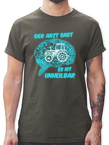 Landwirt - Der Arzt SAGT es is unheilbar Traktor - XXL - Dunkelgrau - Landwirt Pullover Herren - L190 - Tshirt Herren und Männer T-Shirts