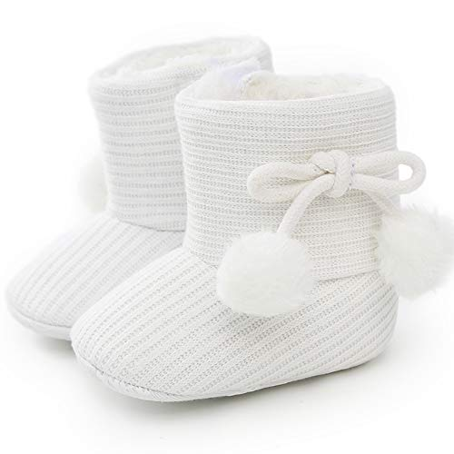 LIVEBOX Baby Premium Soft Sole Bow Anti-Slip Mid Calf Warm Winter Infant Prewalker Toddler Snow Boots (6-12 Months Infant, Ball-White)