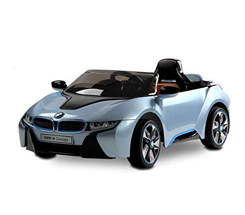 LT 838 Coche eléctrico para niños BMW I8 una plaza 12V con control remoto (Azul oscuro)