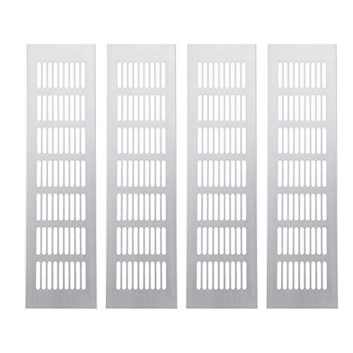 Kuinayouyi 4 rejillas de ventilación de ventilación de aleación de aluminio para armario, zapatero, aire acondicionado, 300 mm