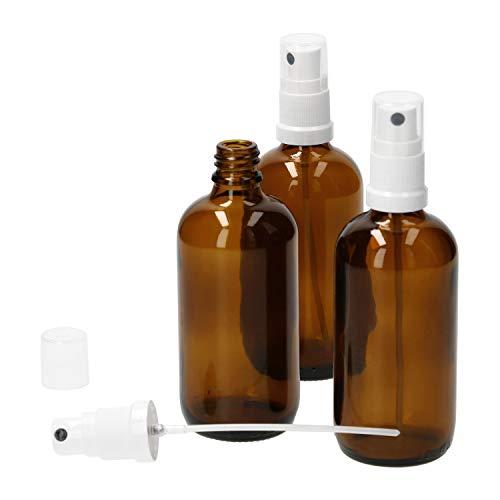 MamboCat 3tlg.-Set Miniaturflaschen mit Sprühkopf 100 ml I Sprühflaschen aus Braunglas I Zerstäuber I Apothekerfläschen für UV-geschützte Medikamenten-Aufbewahrung I Wiederverwendbar