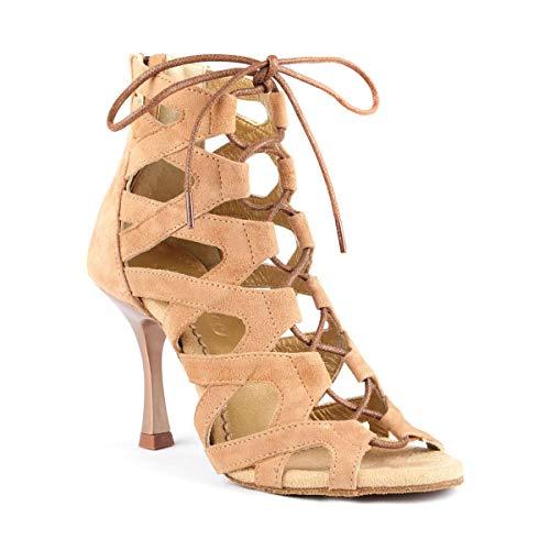 PortDance Zapatos de baile PD804 para mujer, material: nobuck, color: camel, fabricados en Portugal., marrón claro, 41 EU
