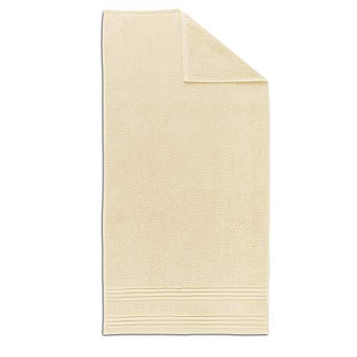 PRINCE Crystal beige, 50 x 100 cm, serviette de toilette 100 % coton, 2 fils avec anneau, 550 g/m², lavable à 60 °C.