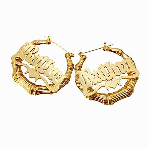 Pendientes De Aro De Bambú Personalizados Con Corazón Chapado En Oro De 18 Quilates Nombre Grabado Aniversario Cumpleaños Regalo Del Día De La Madre Personalizado Para Mujer(Estilo 7 Oro 2.36 ')