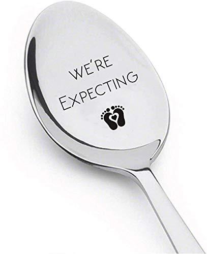 We're Expecting - löffel mit Gravur Geschenke für Schwangerschaft offenbaren - Überraschung für Ehemann- Geschenk für Vater Mutter Großmutter Großvater und Freund