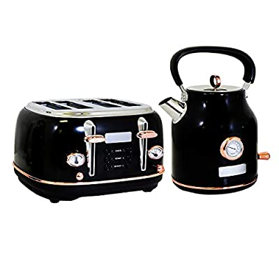 Charles Bentley Kettle & Toaster Set in Black & Rose Gold Made of Stainless Steel - Fast Boil Easy Clean - 1.7L