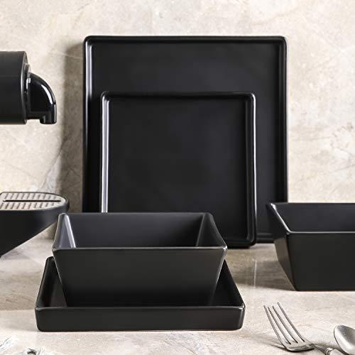 Stone lain Grace Square Stoneware Dinnerware Set, 24 Piece Service For 8, Black