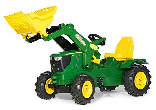 Rolly Toys rollyFarmtrac John Deere 6210R Trettraktor (für Kinder 3-8 Jahre, Luftbereifung, Frontlader, Sitz verstellbar) 611102