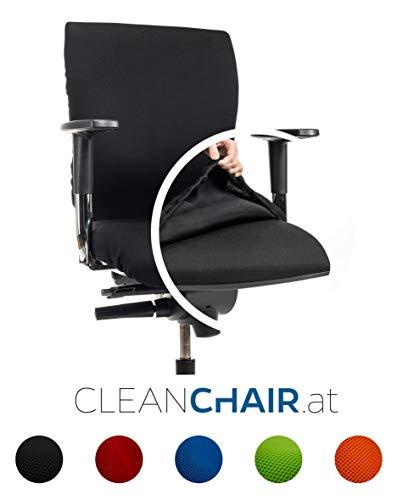 CLEANCHAIR Bürostuhlbezug für die SITZFLÄCHE (Größe Standard) - Sitzflächengröße ca. 40-52 cm Breite und ca. 40-52 cm Tiefe (Schwarz)