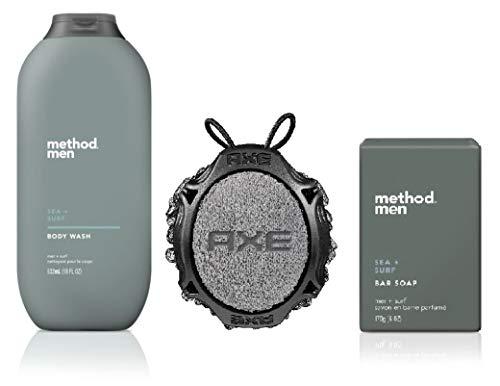 Method Men - Men's Body Wash 18 oz, Bar Soap 6 oz, and Axe Detailer Tool - Set of 3 in Box (Sea + Surf)