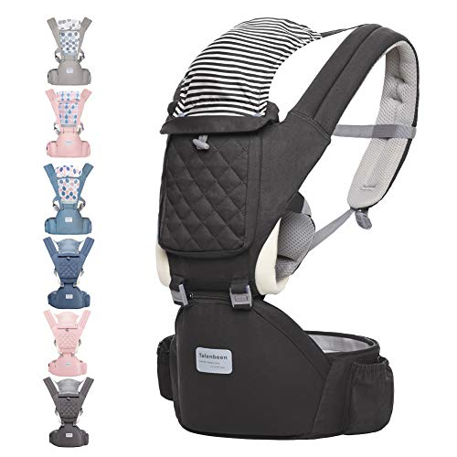 Baby Carrier with Hip Seat Baby Wrap Carrier All Season Multifunctional Baby Carrier Newborn to Toddler Baby Doll Carrier Front and Back for Men and Girls (Dark Grey)