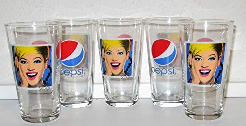 Cola-Pepsi Copas de cristal Pepsi, 5 x 0,2 litros, estilo vintage retro