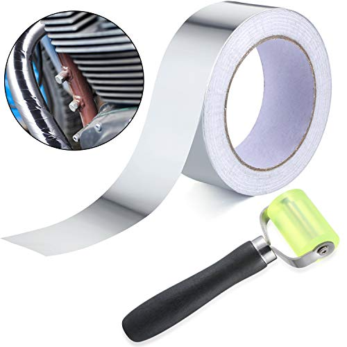 30 Meter Aluminum Foil Tape Finishing Sealing Tape with 1 Pack Car Sound Deadener Auto Noise Filter Application Insulation Tool Rolling Wheel Roller for Car Sound Deadening Installation