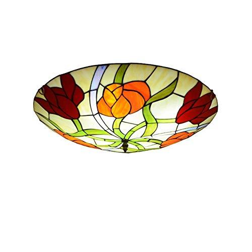 Plafonniers de style Tiffany Fix Luminaires de lampe de plafond for couloir en vitrail coloré vintage ha Lampe faite main avec abat-jour rond, plafonnier encastré E27 (Size : 30cm)
