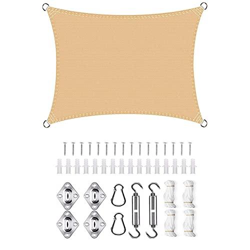 DANWU Toldo Parasol 2x5.5m Cuadrado Se instala fácil Resistente Pantalla para Balcón para Patio de Jardín Terraza Camping, Beige