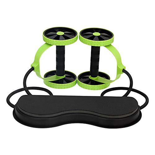 Rullo multifunzionale per esercizi addominali con spessi ginocchiere, fasce di resistenza a doppia ruota, addominali per esercizi addominali, corda da traino, attrezzatura fitness per casa, palestra