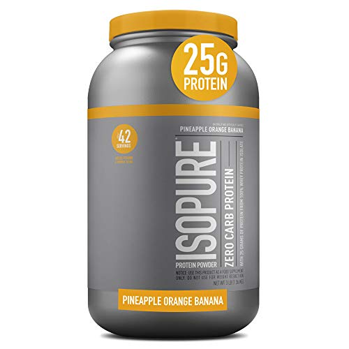 Isopure Zero Carb, Vitamin C and Zinc for Immune Support, 25g Protein, Keto Friendly Protein Powder, 100% Whey Protein Isolate, Flavor: Pineapple Orange Banana, 3 Pounds (Packaging May Vary)