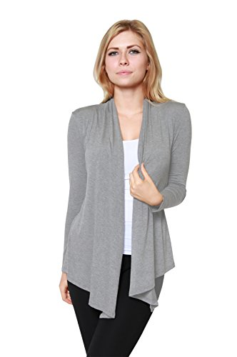 Free to Live Women's Light Weight Open Front Cardigan Sweater Made in USA (Medium, Heather Grey)