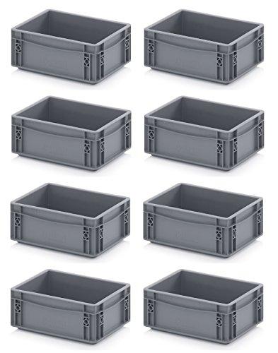 8x Eurobehälter 30 x 20 x 12 grau inkl. gratis Zollstock 8er Set