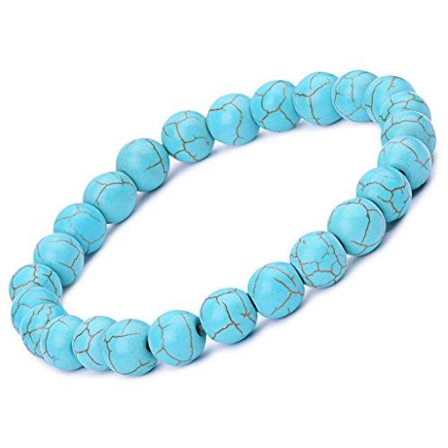 Unendlich U Retro Simpel Damen Herren Buddha Armband Armreif, 9mm Energie-Stein Kugeln Perlen Gebet Mala Stretch Energiearmband, Blau