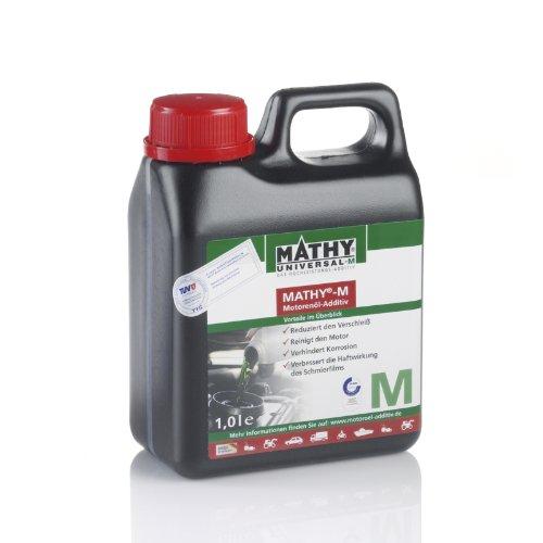 MATHY-M Motoröl Additiv 1,0 l - Ölzusatz Motor - TÜV geprüfter Verschleißschutz für alle Otto- und Dieselmotoren - Einsetzbar in Allen Motorenölen - Longlife Motorschutz