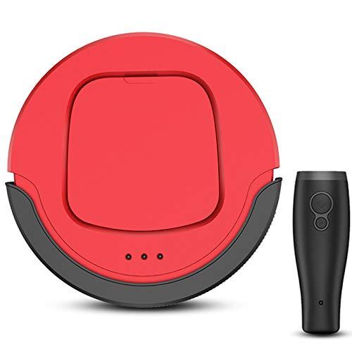 OOFAT Robot Aspirador Barredora Inteligente, Robot Trapeador De Barrido Barredora Robótica Recargable con Sensor Inteligente Automático para Suelo, Alfombra,Rojo
