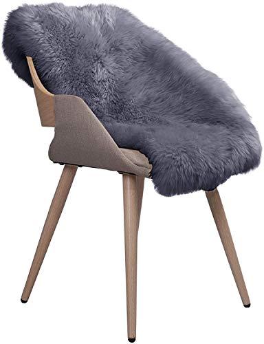 WOLTU TP3510hgr-L Öko Lammfell Schaffell Teppich Bettvorleger Sofa Matte echtes Naturfell Longhair hell grau 90-104cm