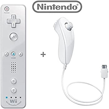 Official Nintendo Wii/Wii U Remote Plus Controller and Nunchuk Nunchuck Combo Bundle Set [White] (Bulk Packaging)