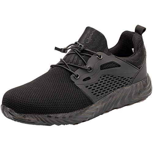 [QiQi's Store] 安全靴 鋼鉄先芯 衝撃吸収 ケブラーミッドソール 踏み抜き防止 耐摩耗 耐滑 軽量 作業靴 メンズ ブラック/26.0CM