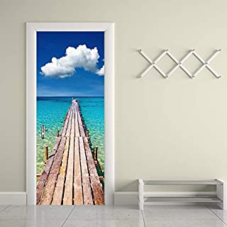 Alwayspon Modern Art Wharf 3D Door Sticker, Peel and Stick Removable Vinyl Door Decals for Home Decor, 30.3x78.7(77x200cm), 2 Pcs Set