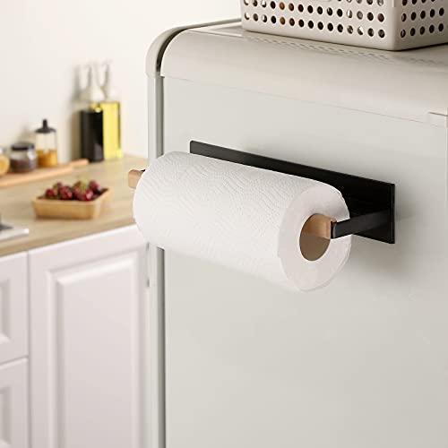 KES Magnetic Paper Towel Holder, Black Paper Towel Holder for Refrigerator, Wood & Metal Paper Towel Roll Holder, KPH502MA-BK