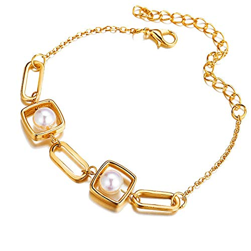ShFhhwrl Mano Pulseras Brazalete Joyería Mujer Pulseras con Dijes De Corazón De Perlas De Color Dorado Vintage para Mujer, Regalo