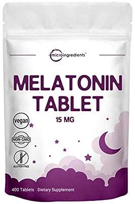 Micro Ingredients Advanced Sleep Melatonin 15mg, 400 Tablets, Nighttime Sleep Aid for More Relaxation, Non-GMO and Vegan Friendly