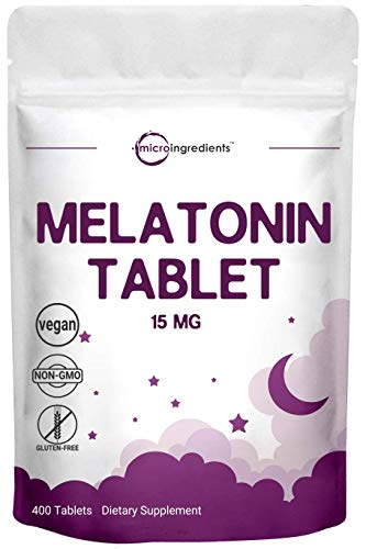Micro Ingredients Advanced Sleep Melatonin 15mg, 400 Tablets, Nighttime...
