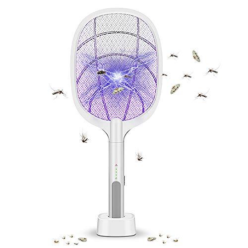 DANZGW Raqueta Mosquitos Eléctrico, 2 en 1 3000V USB Recargable Raqueta Matamoscas Eléctrico con Base de Carga, Zapper Mosquitos Eléctrico para Mosquitos, Moscas, Abejas, Polillas