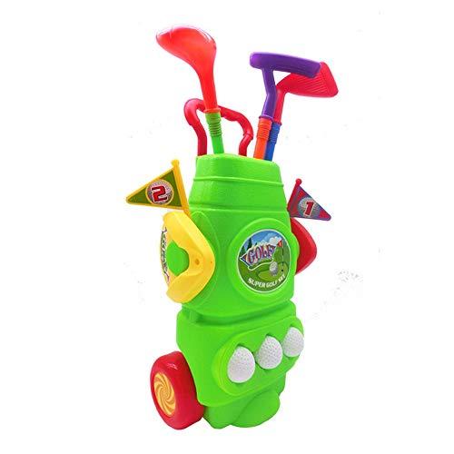 HLVU Golf Spielzeug Kids Golf Club Set - Golf Cart Mit Rädern, 3 Bunte Golf-Sticks, 3 Bälle & 2 Übungslöcher - Spaß Junge Golfer Sport Spielzeug Kit for Jungen & GirlsGolf Spielzeug Outdoor-Spielzeug