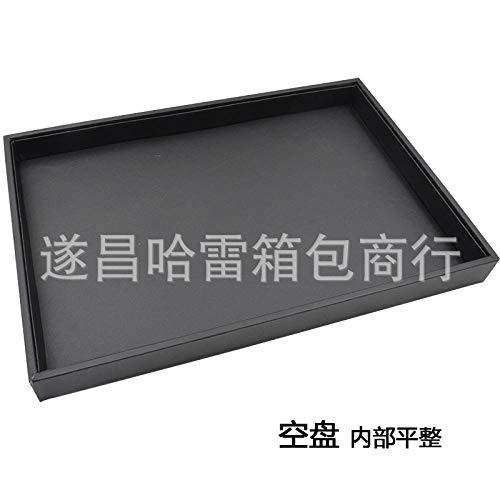 xiangqian-shoushihe Juwelendoos, kunstlederen juwelendoos en vitrinekast, spiegel opbergdoos juwelen opbergboxMiddelgrote korst sieraden display stand@Grote zwarte PU leer zonder cover