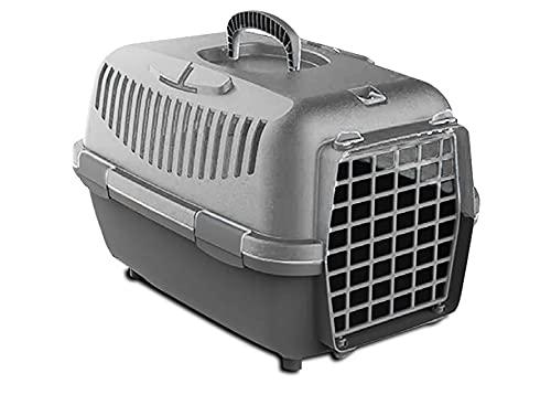 Transportín para Perro y Gato Pequño 48x32x32CM, Caja de Transporte, Plástico, Puerta de Acero plastificado, Rejillas de ventilación (48 * 32 * 32 CM, Gris Claro)