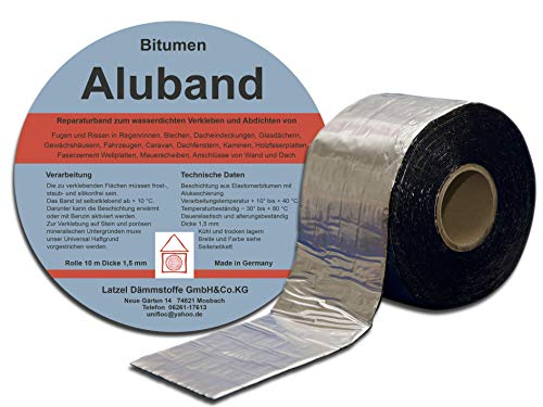 Bitumen Aluband Reparaturband Dichtband Farbe Aluminium 100 mm - Rolle 10 Meter. Hergestellt in Deutschland.