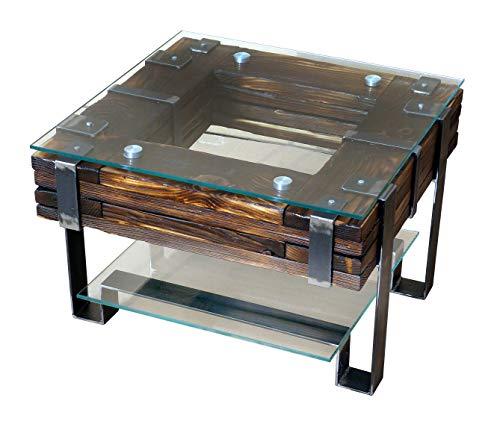 CHYRKA® Couchtisch LEMBERG Wohnzimmertisch Massivholz Glastisch Holz Glas Loft Handmade Vintage Deco (LembergNatur, 60x60 cm H=40 cm)