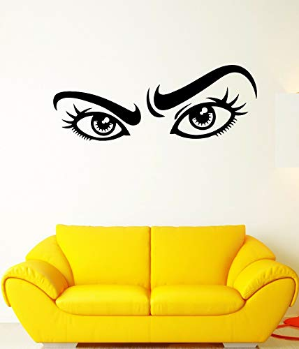 Vinyl Wandaufkleber Wandbild schöne Wimpern Augenbrauen Mädchen Wandaufkleber Mädchen Zimmer Nachttisch Wandaufkleber Hintergrundaufkleber A8 153x57cm