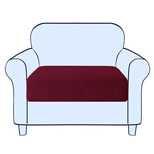 subrtex Copriseduta Divano Elasticizzato Copricuscino Morbido Protezione del Cuscino Sedile del Divano Lavabile (1 Posto, Borgogna)
