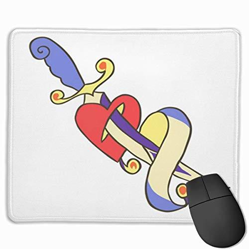 Niedliches Gaming-Mauspad, Schreibtisch-Mauspad, kleine Mauspads für Laptop-Computer, Mausmatte Authentisches traditionelles Tattoo mit Messer auf weißem Abzeichen Schwarzer Cartoon Classic Daily