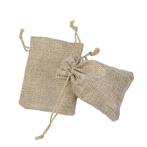 Fablcrew - 20 bolsas de yute con cordón para peladillas, joyas, bodas,...