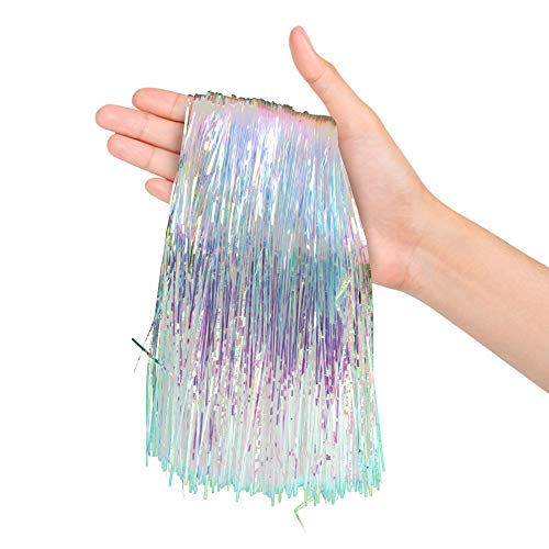Christmas Tree Decorations Iridescent Tinsel Foil Fringe Icicles Pack of 2000 Strands for Home Holiday Decor Easter Basket Filler Centerpieces Bachelorette Quinceanera Birthday Graduation Supplies