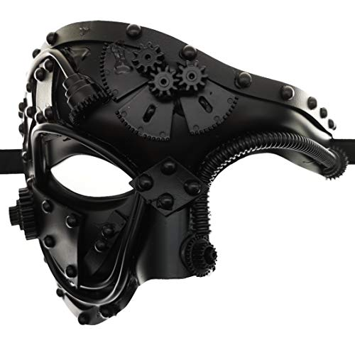 Steampunk Metal Cyborg Venetian Mask,Black Masquerade Mask For Halloween Costume Party/Phantom Of The Opera/Mardi Gras Ball
